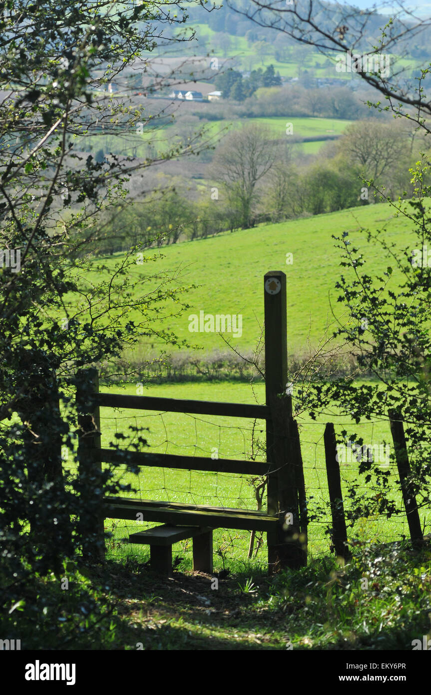 A stile on the Wyche Way near Kington, Herefordshire. - Stock Image