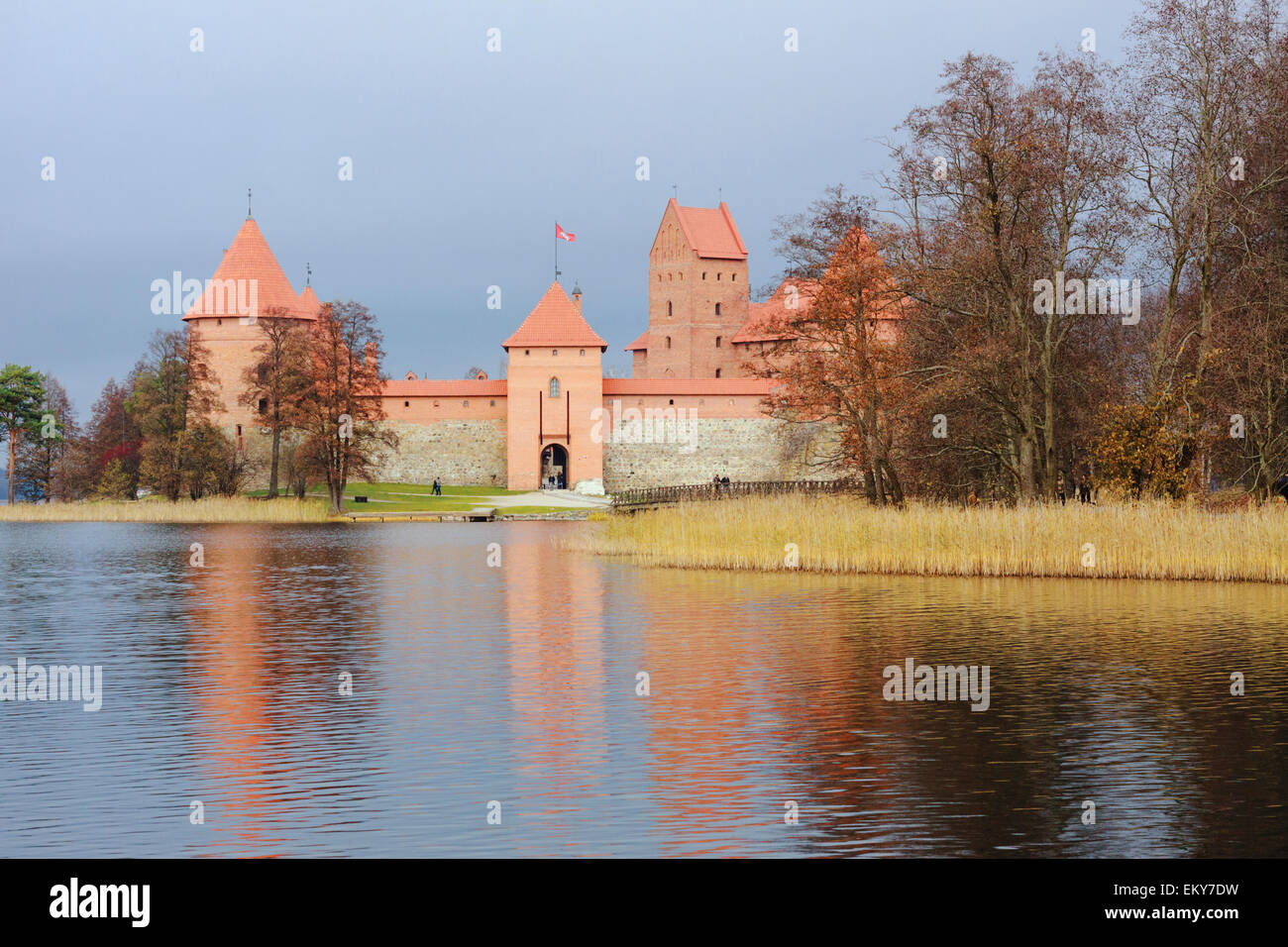 Trakai castle and lake, Lithuania - Stock Image