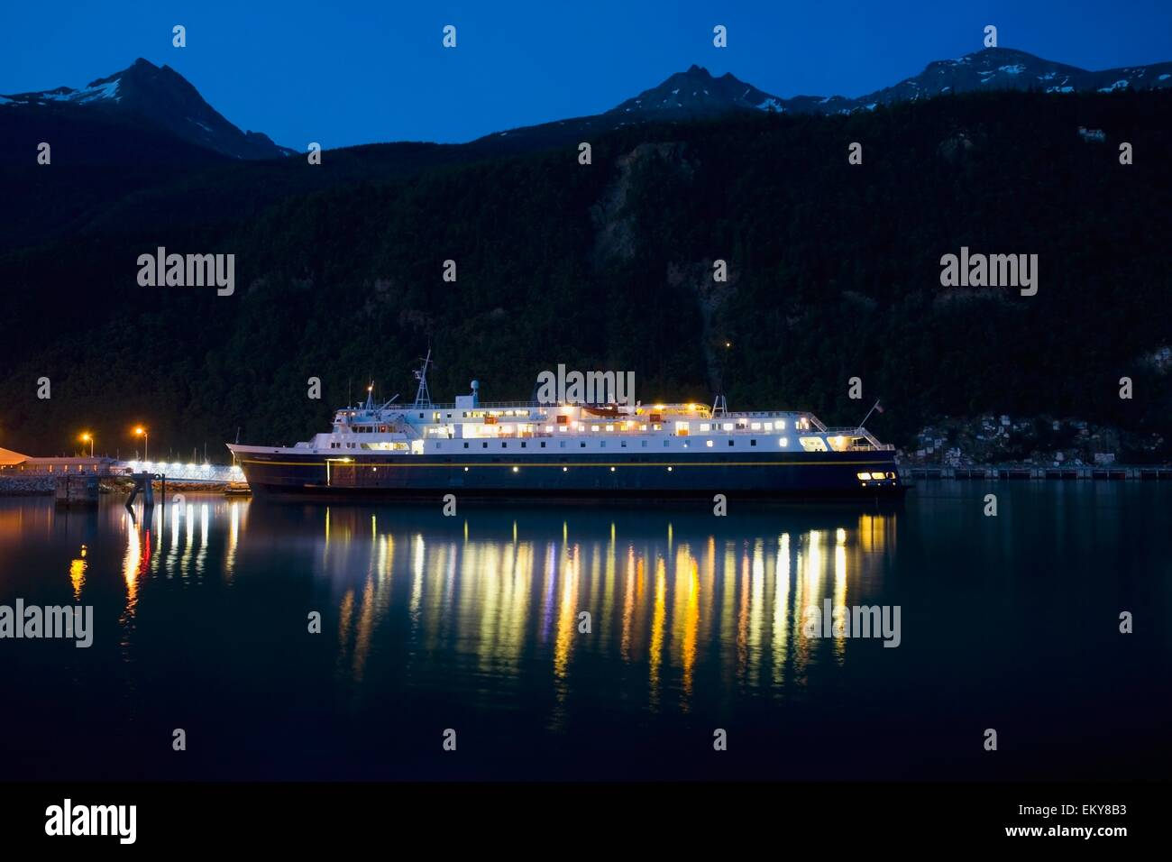 Skagway, Alaska, USA; The Alaska Ferry Surrounded By The Chilkat Mountains In The Lynn Canal Of The Taiya Inlet - Stock Image