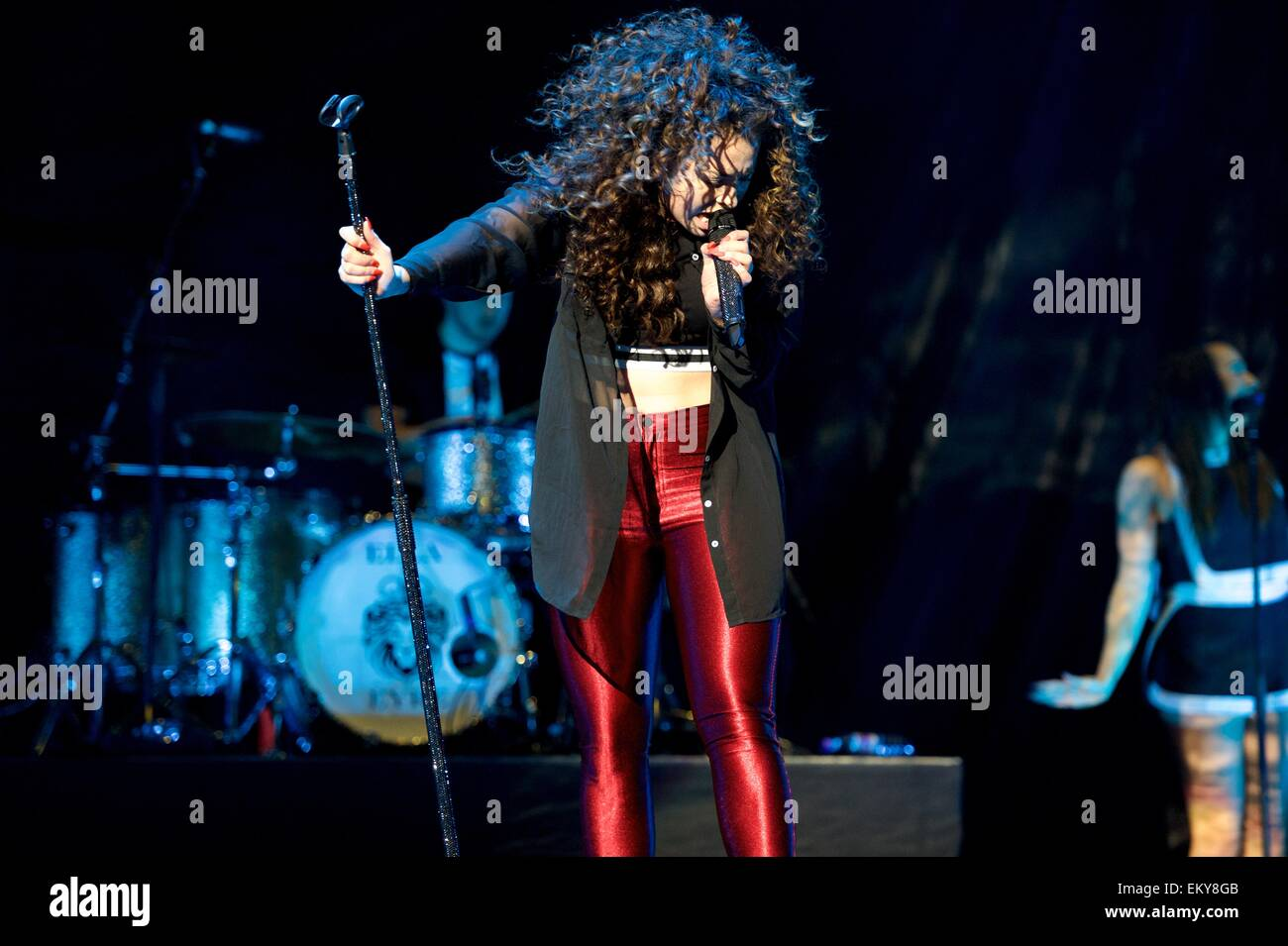 UK singer Ella Eyre performs live at Glasgow SSE Hydro on Tuesday 14th April 2015 Stock Photo