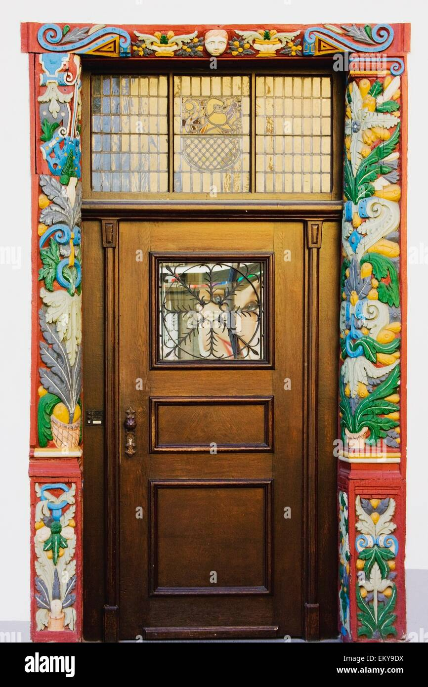 Ordinaire Nassau, Rheinland Pfalz, Germany; A Door Surrounded By Colorful Wallpaper