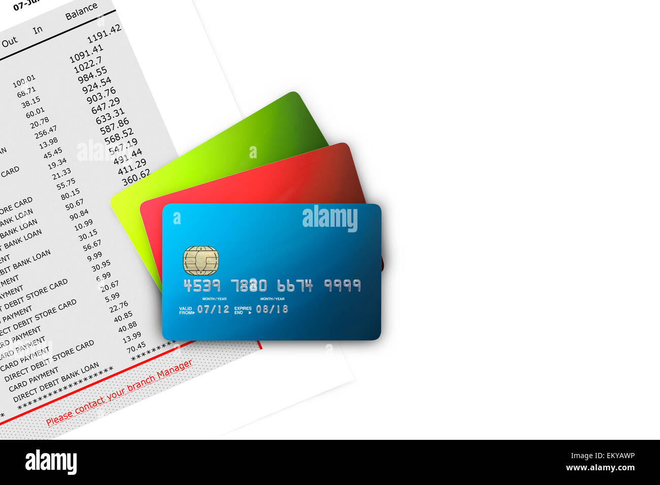 Credit Cards on Bank Statements - Stock Image