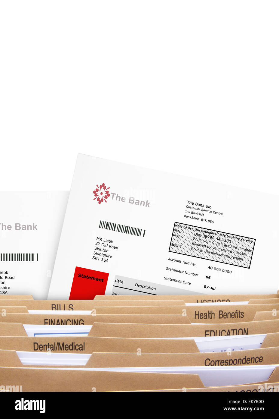 Home Filing Dividers showing Bank Statements - Stock Image