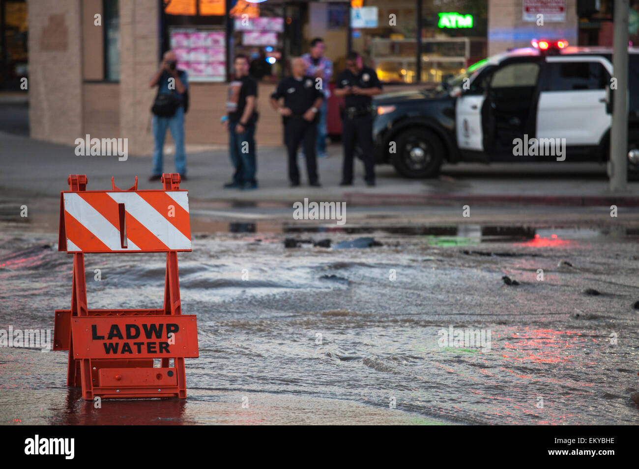 Water main break at Santa Monica Blvd. and HIghland in Hollywood on Oct 27, 2014. - Stock Image