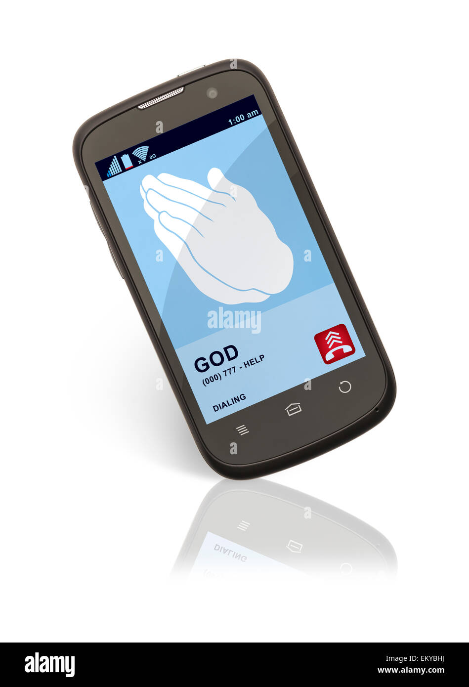 Cell Phone with Hands Praying Isolated on White Background. - Stock Image
