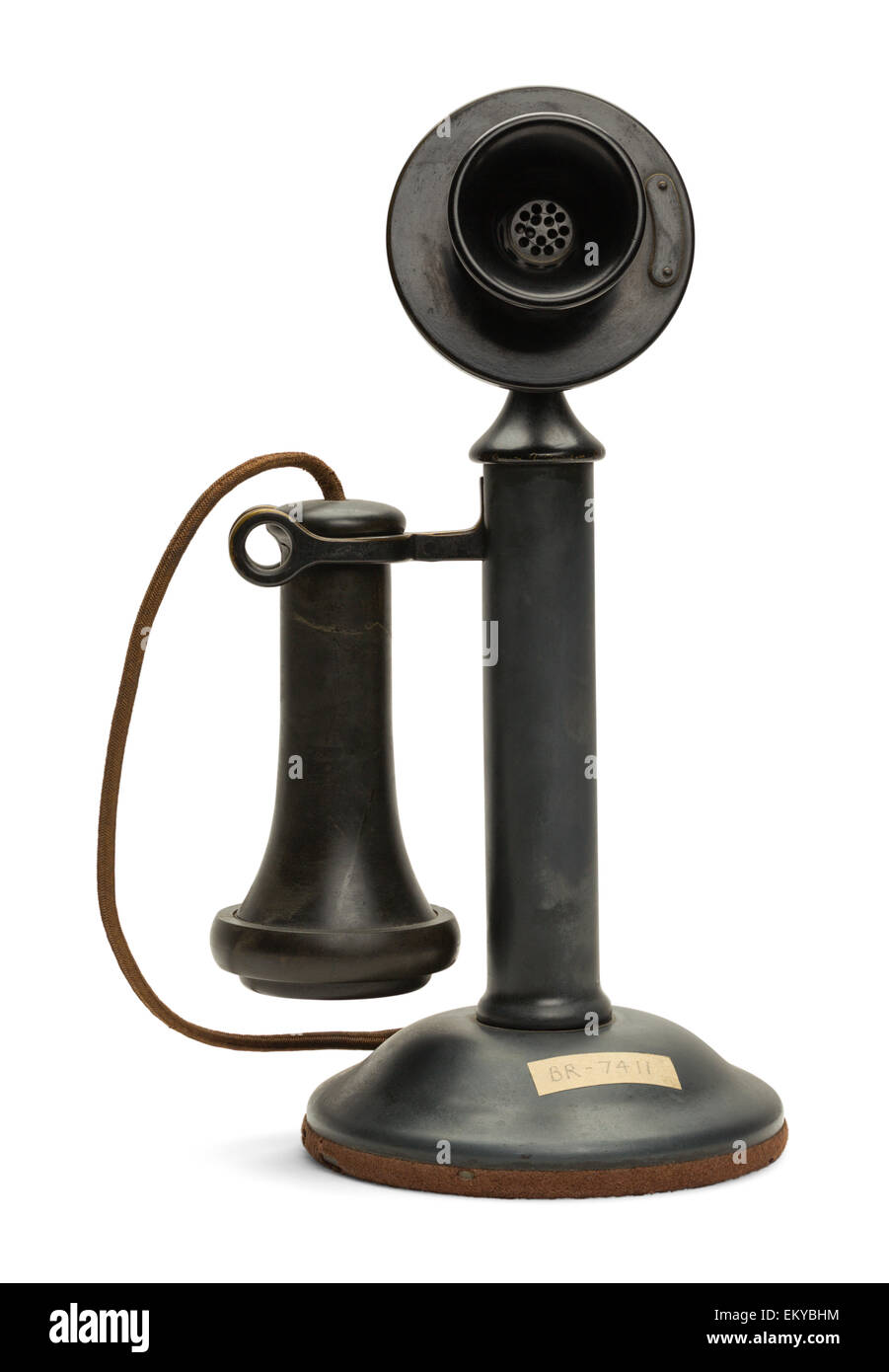 Black Antique Old Phone Isolated on White Background. - Stock Image