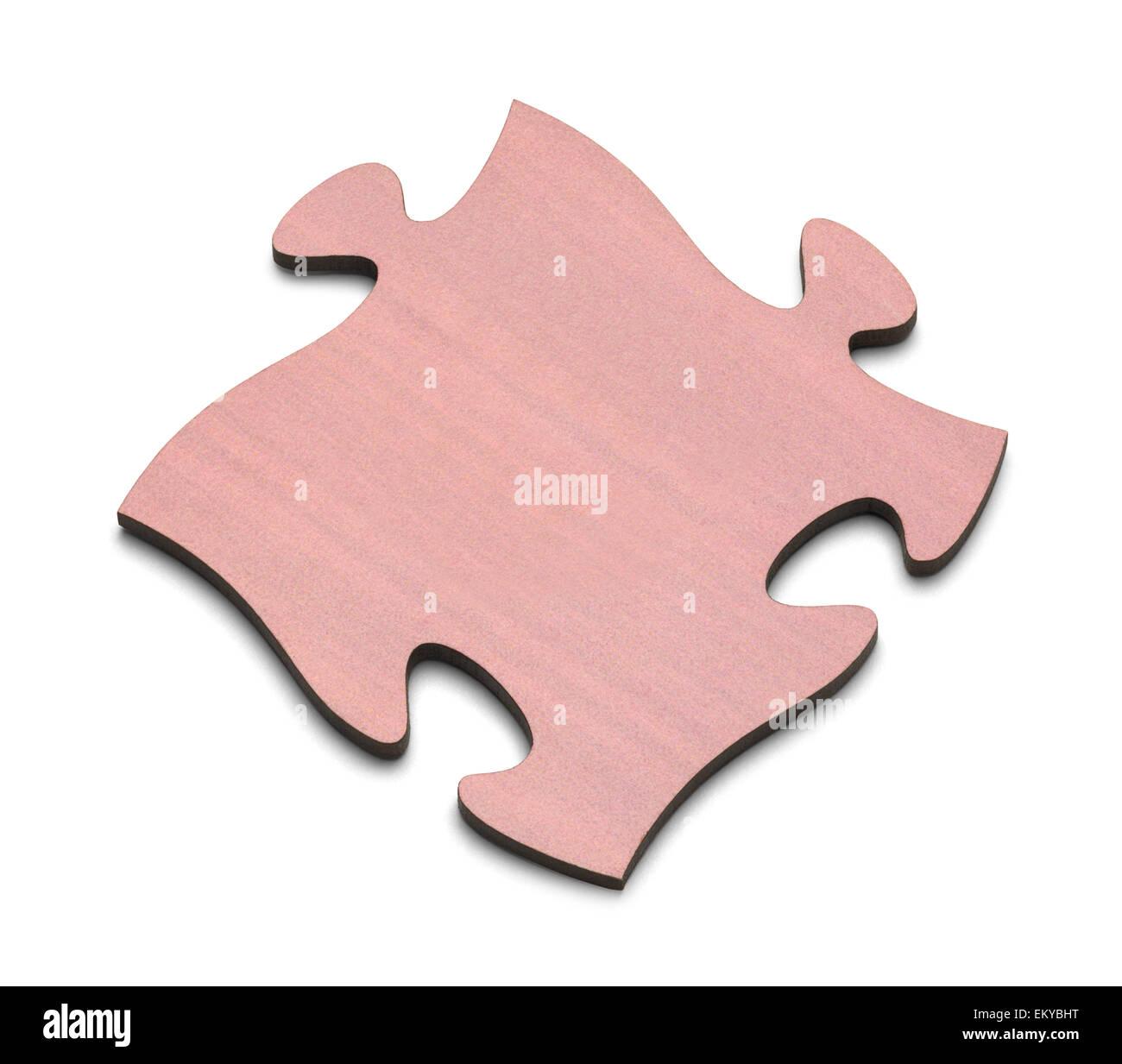 Single Puzzle Piece Isolated on White Background. - Stock Image