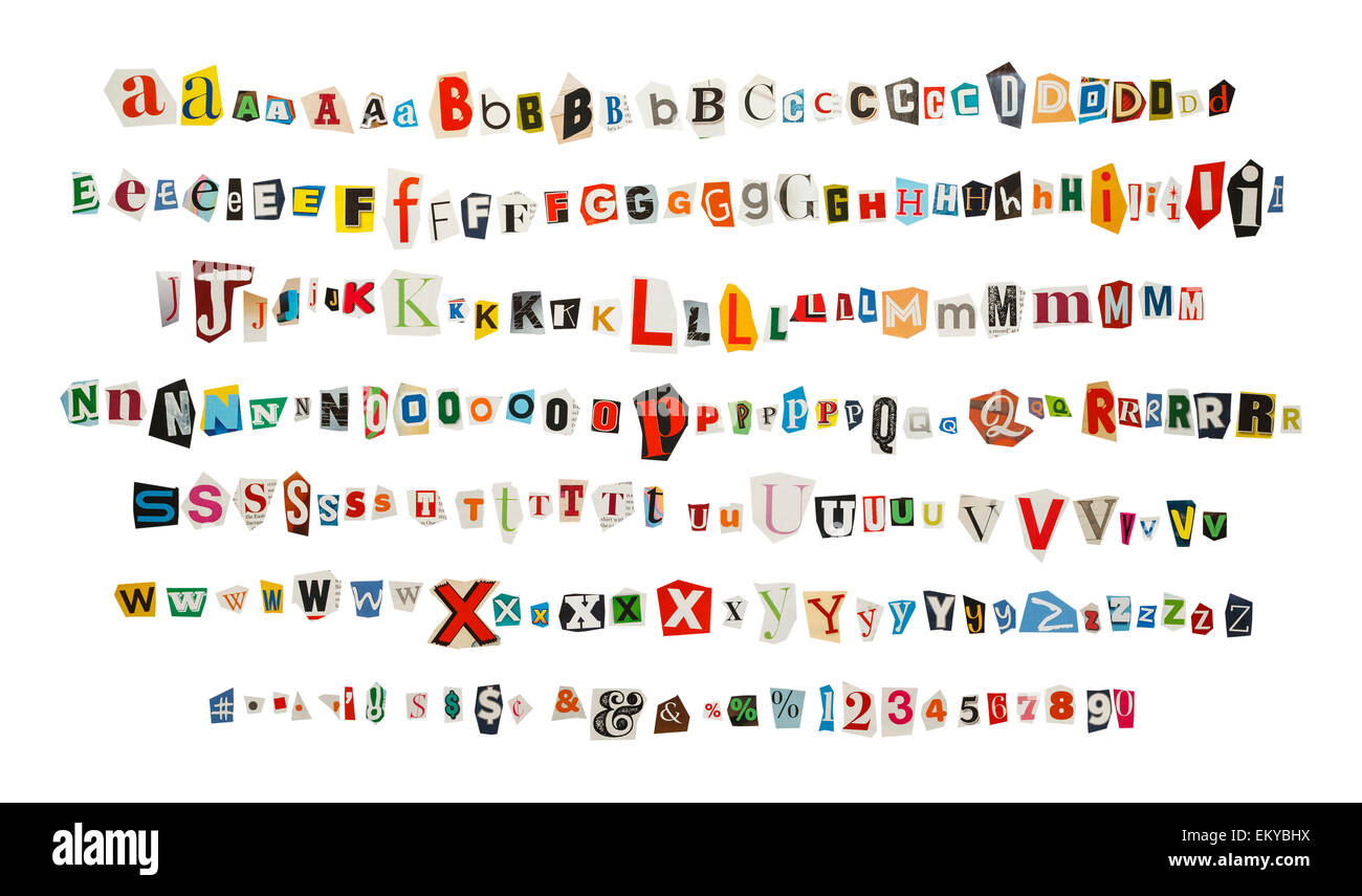 Cut out Kidnapper Ransom Note Letters Isolated on White Background. - Stock Image