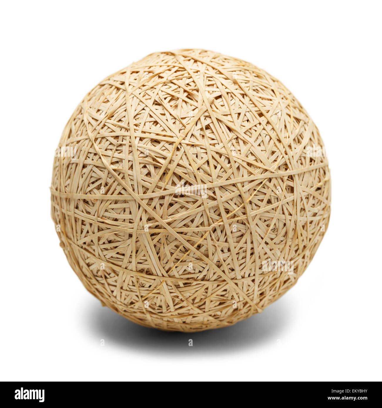 Big Brown Ball of Rubber Bands Isolated on White Background. - Stock Image