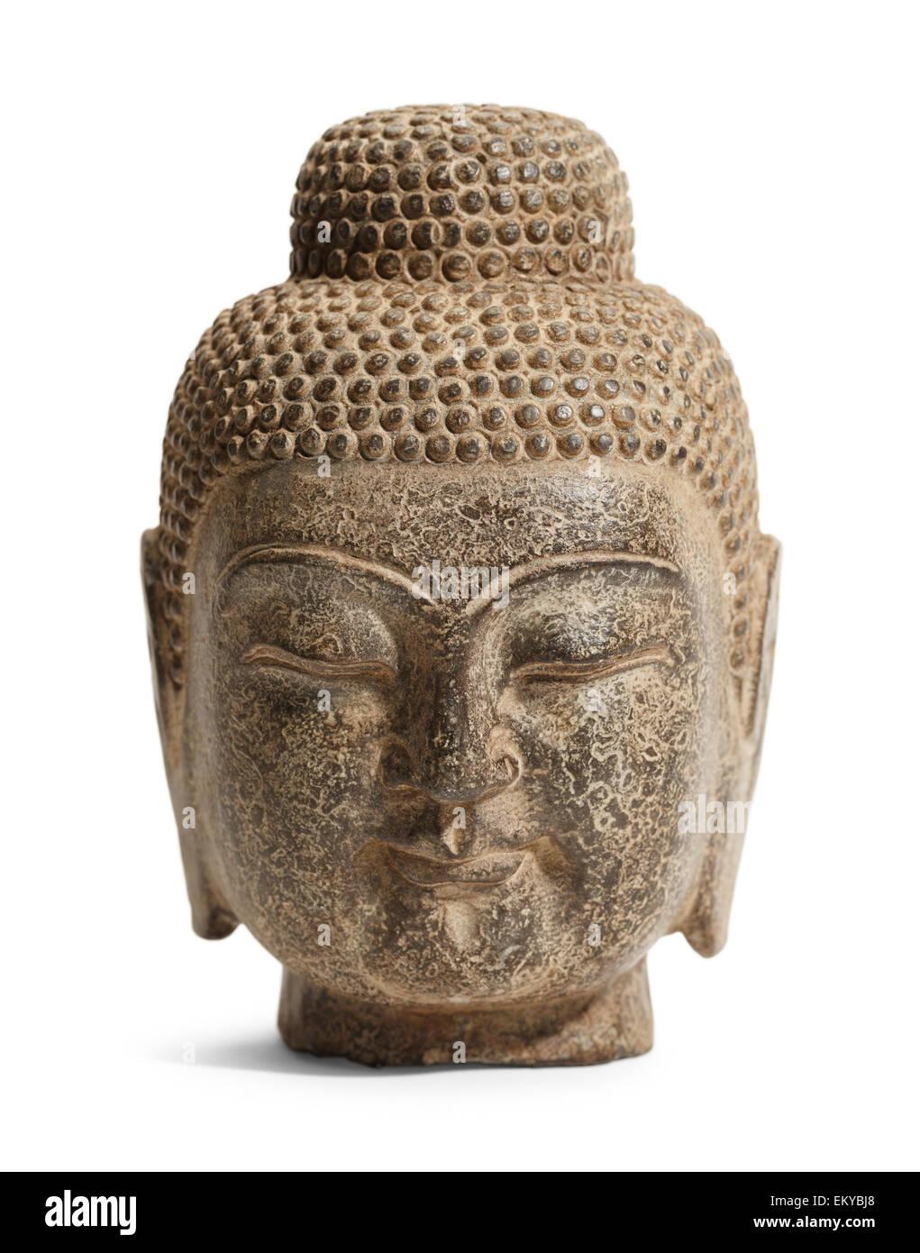 Large Stone Buddha Head Isolated on White Background. - Stock Image