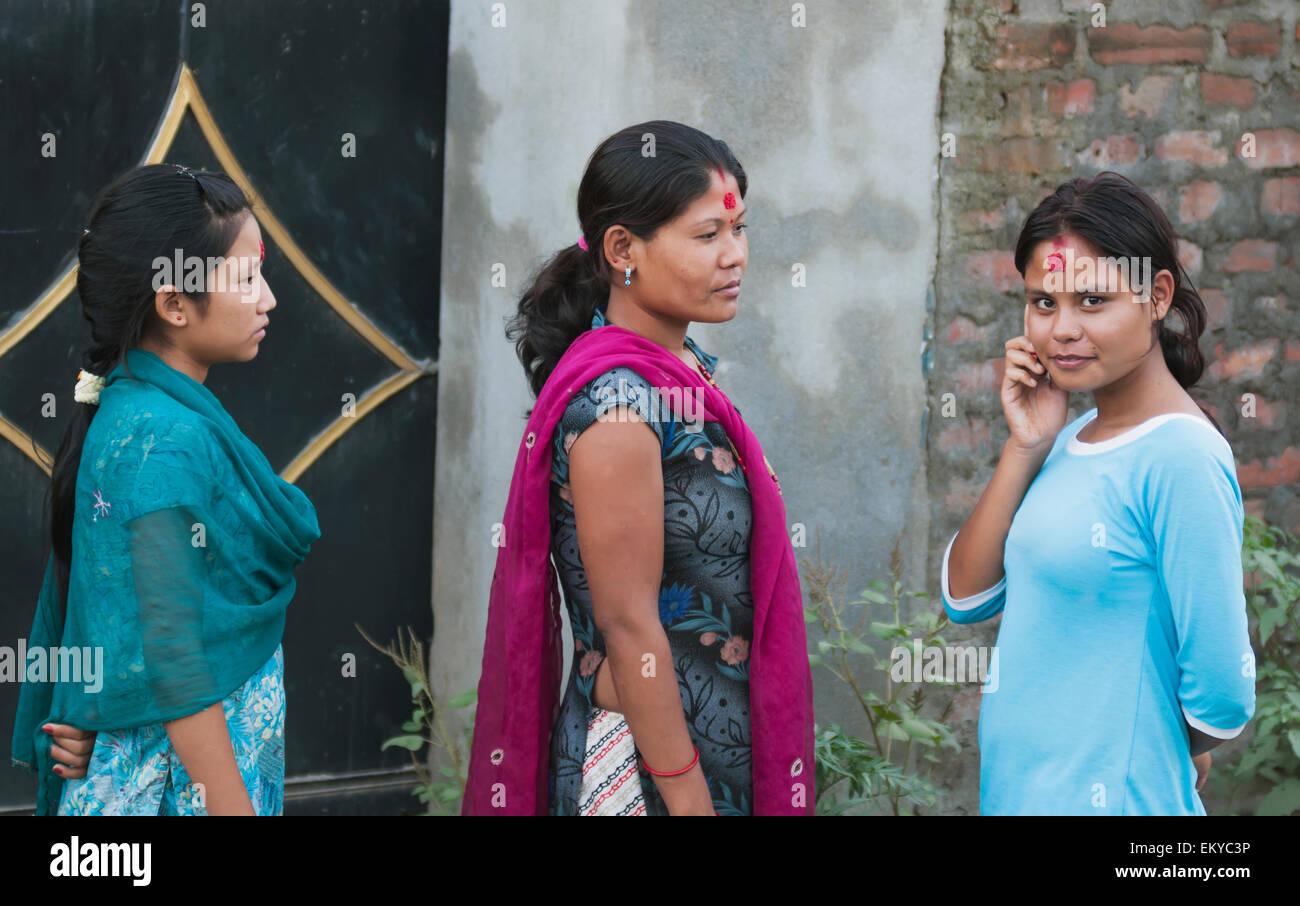 Nepal, Three Nepalese women; Kathmandu - Stock Image