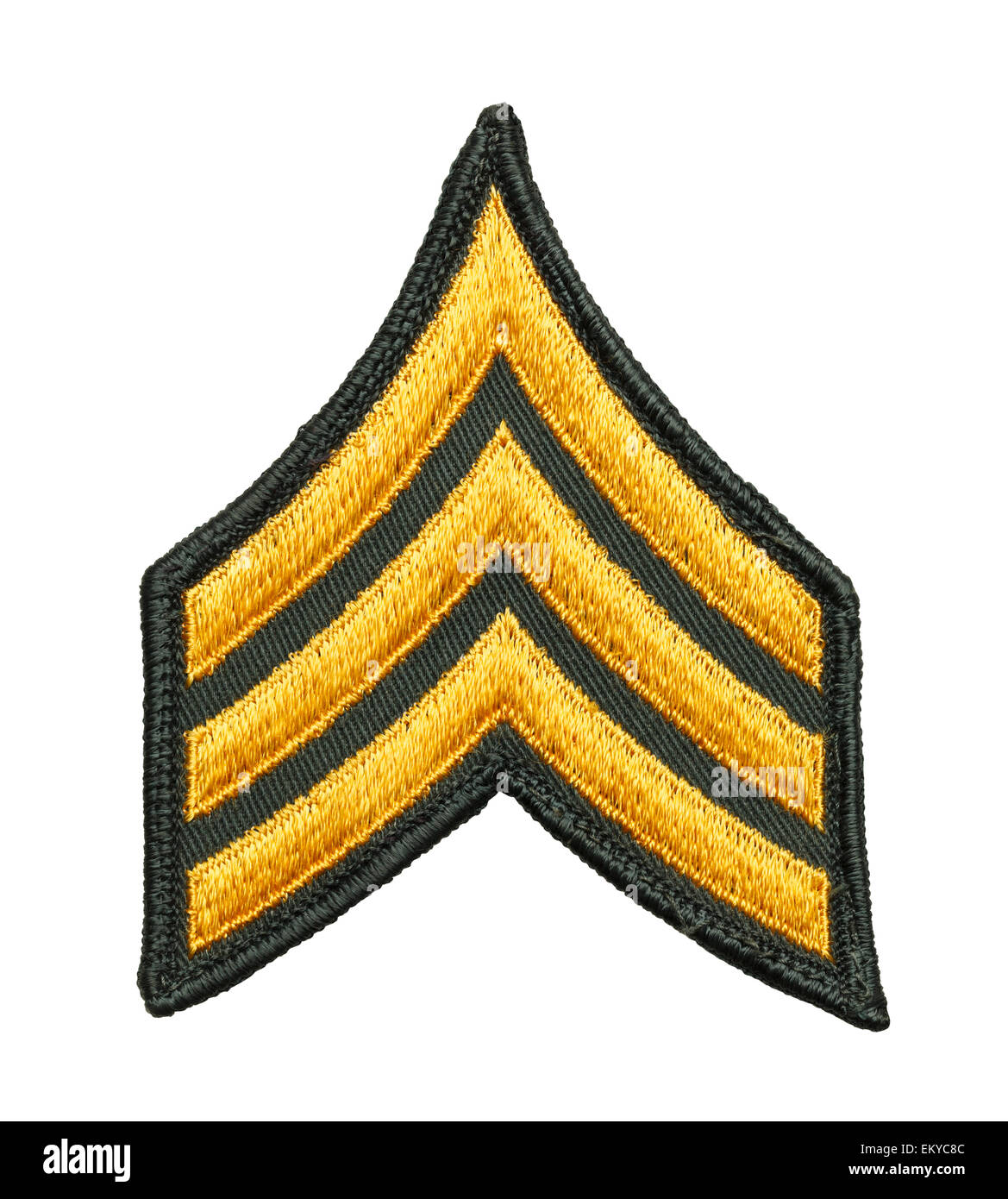Three Striped Army Patch Isolated on White Background. - Stock Image