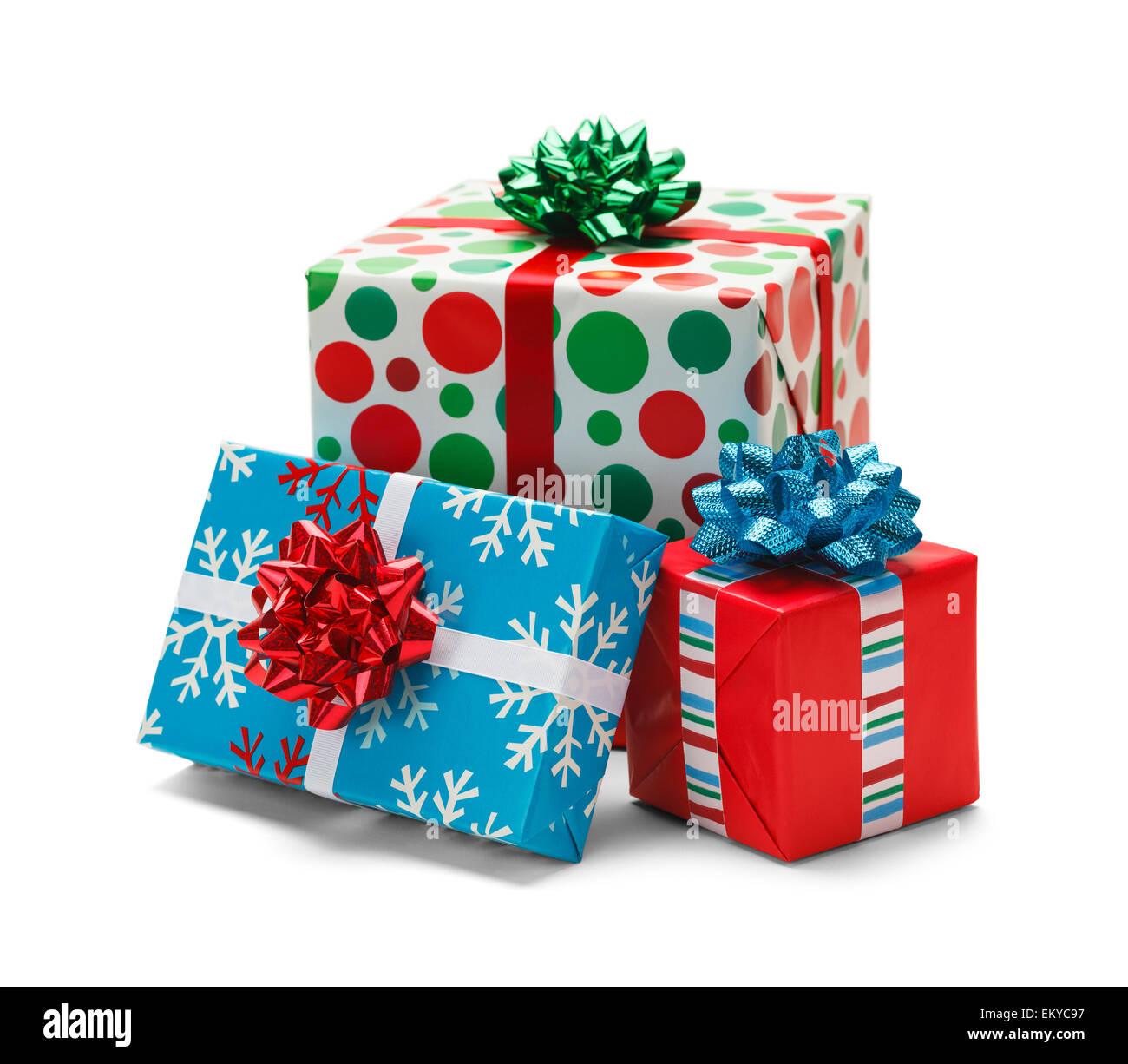 Three Christmas Wrapped Gifts Isolated on White Background Stock ...