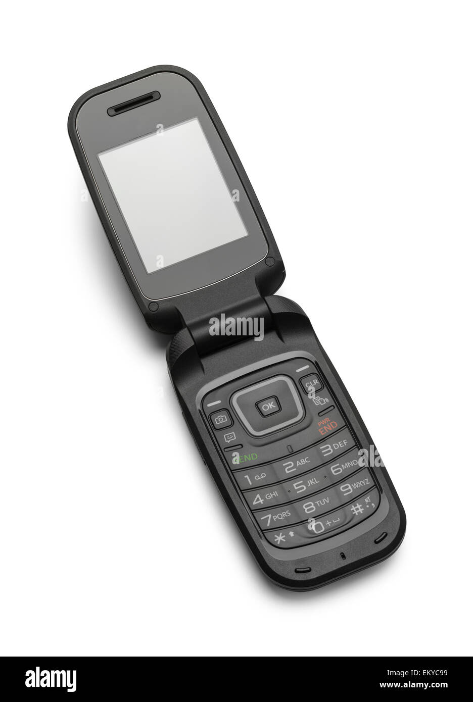 Open Black Flip Cell Phone Isolated on a White Background. - Stock Image