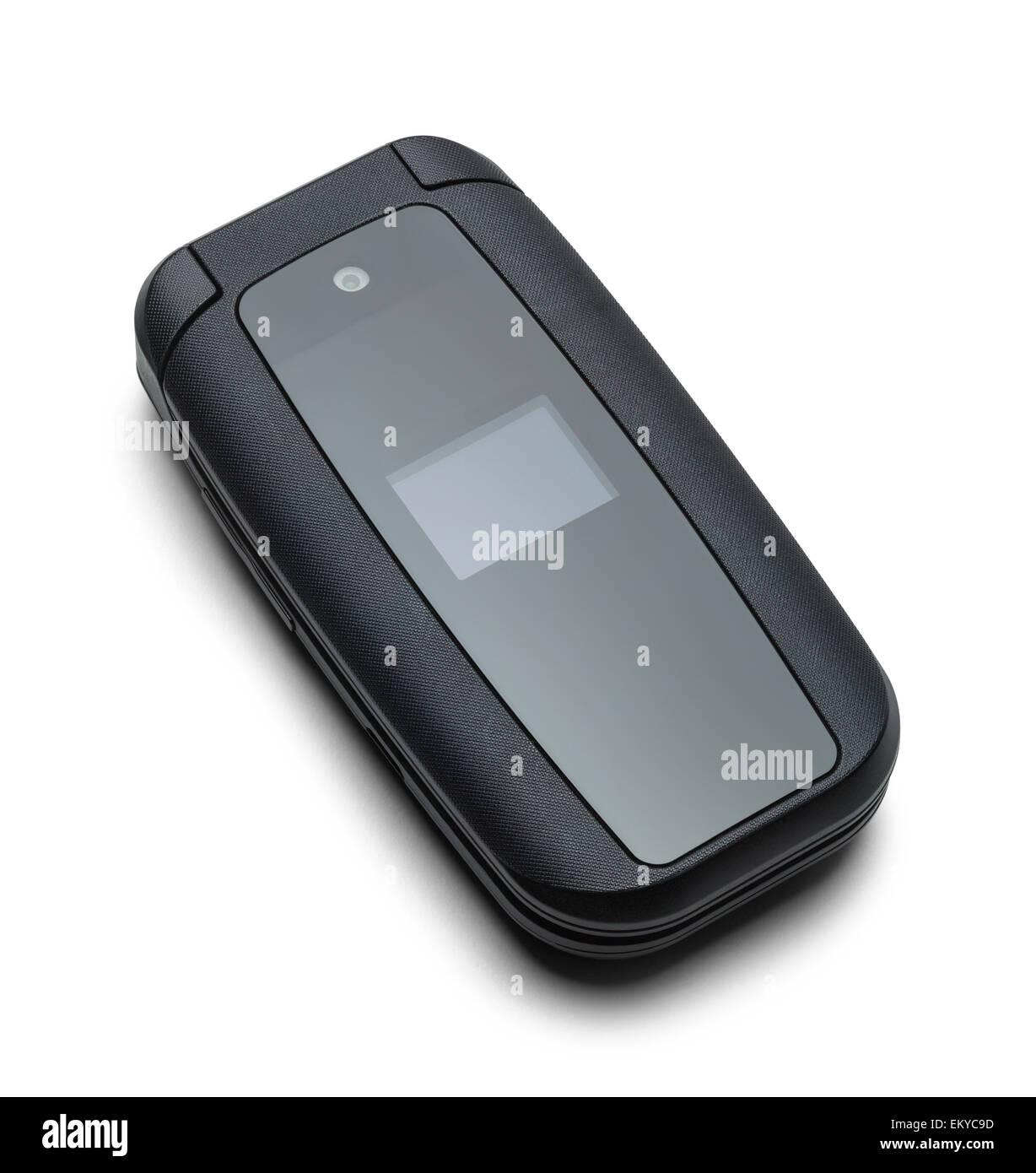 Black Flip Phone Closed Isolated on a White Background - Stock Image