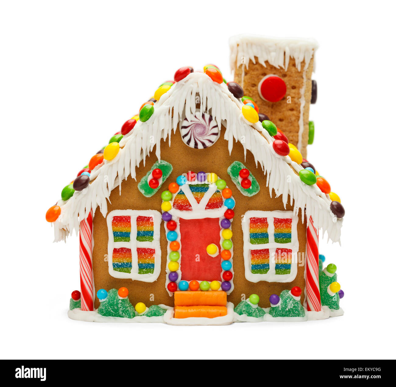 Christmas Gingerbread House Background.Christmas Gingerbread Cookie House With Candy Isolated On