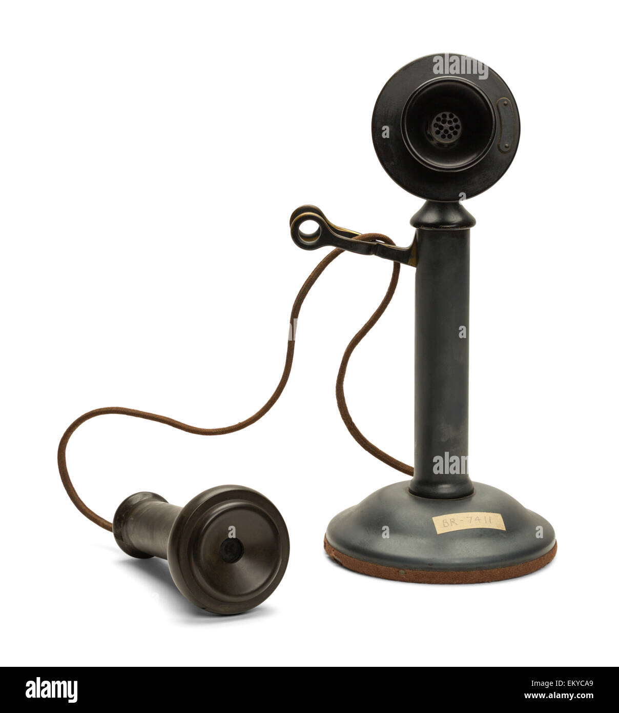Antique Phone off the Hook Isolated on White Background. - Stock Image