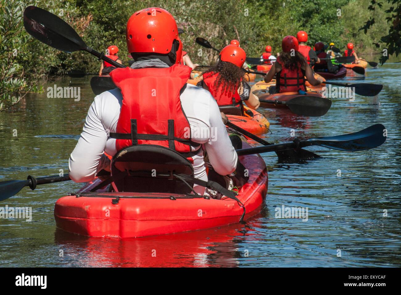 Kayaking in the Los Angeles River Recreation Zone, Sepulveda Basin, Los Angeles, California Stock Photo