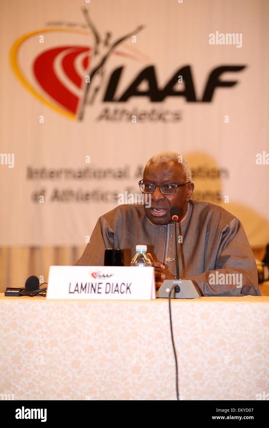 Beijing, China. 15th Apr, 2015. International Association of Athletics Federations (IAAF) President Lamine Diack - Stock Image