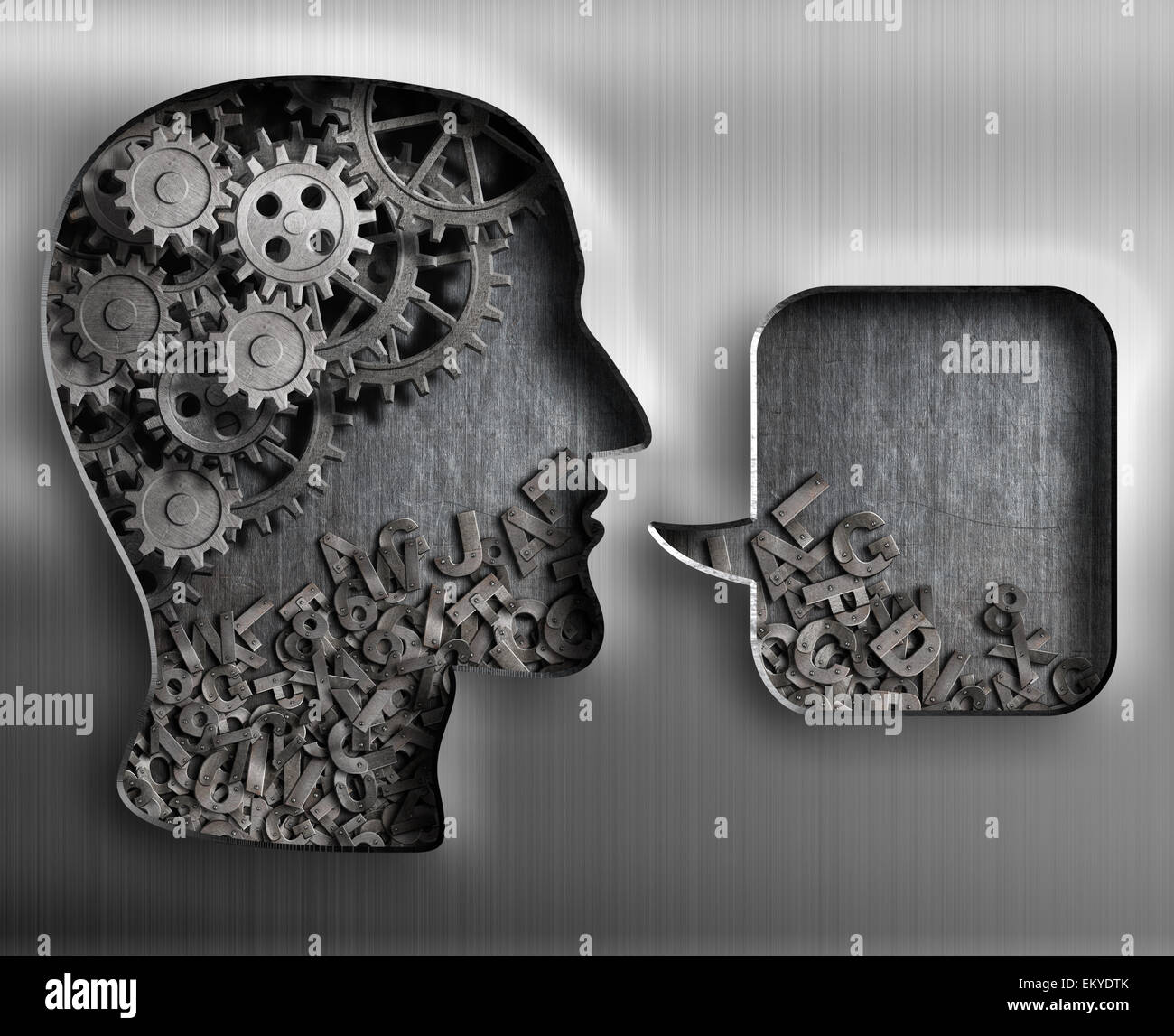 Metal head with brain gears and speech bubble - Stock Image