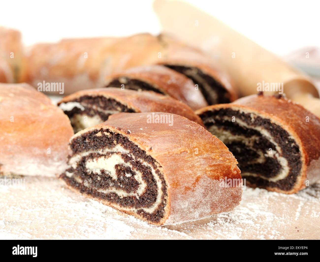 Fresh Poppyseed coffee cakes. - Stock Image