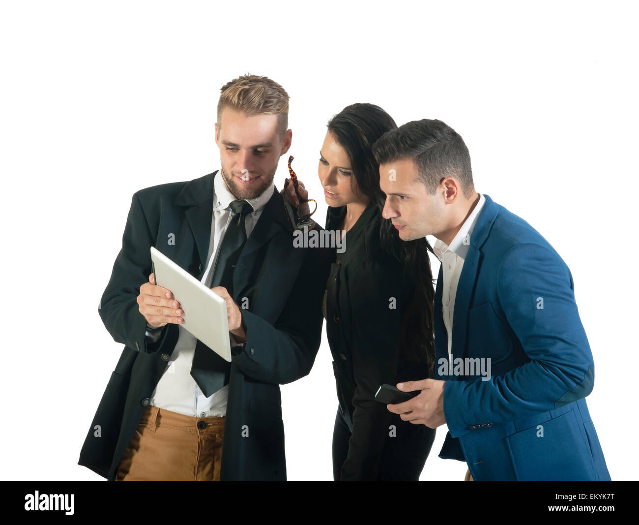 Group of business people working with digital tablet - Stock Image