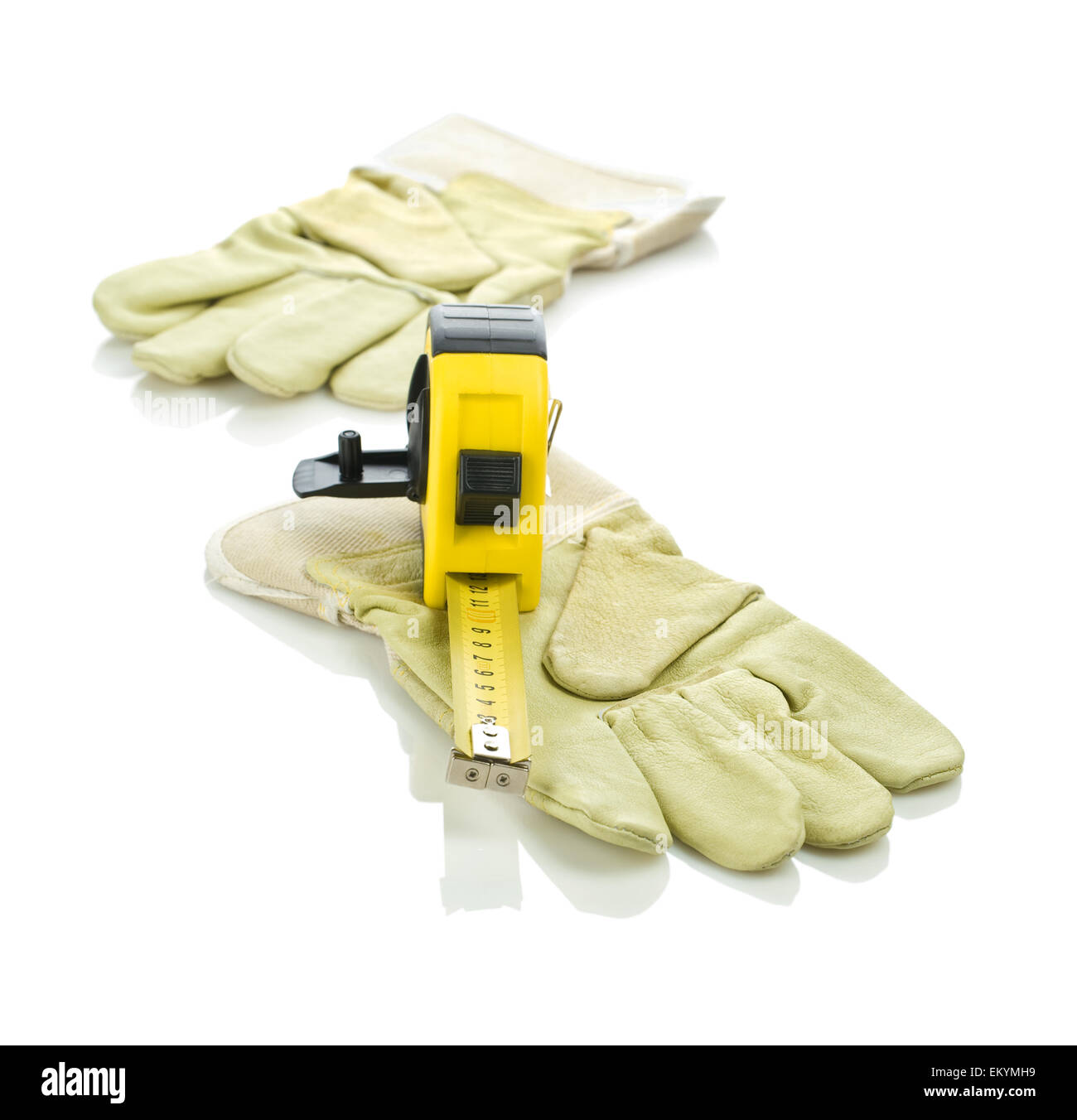 tapeline with gloves Stock Photo