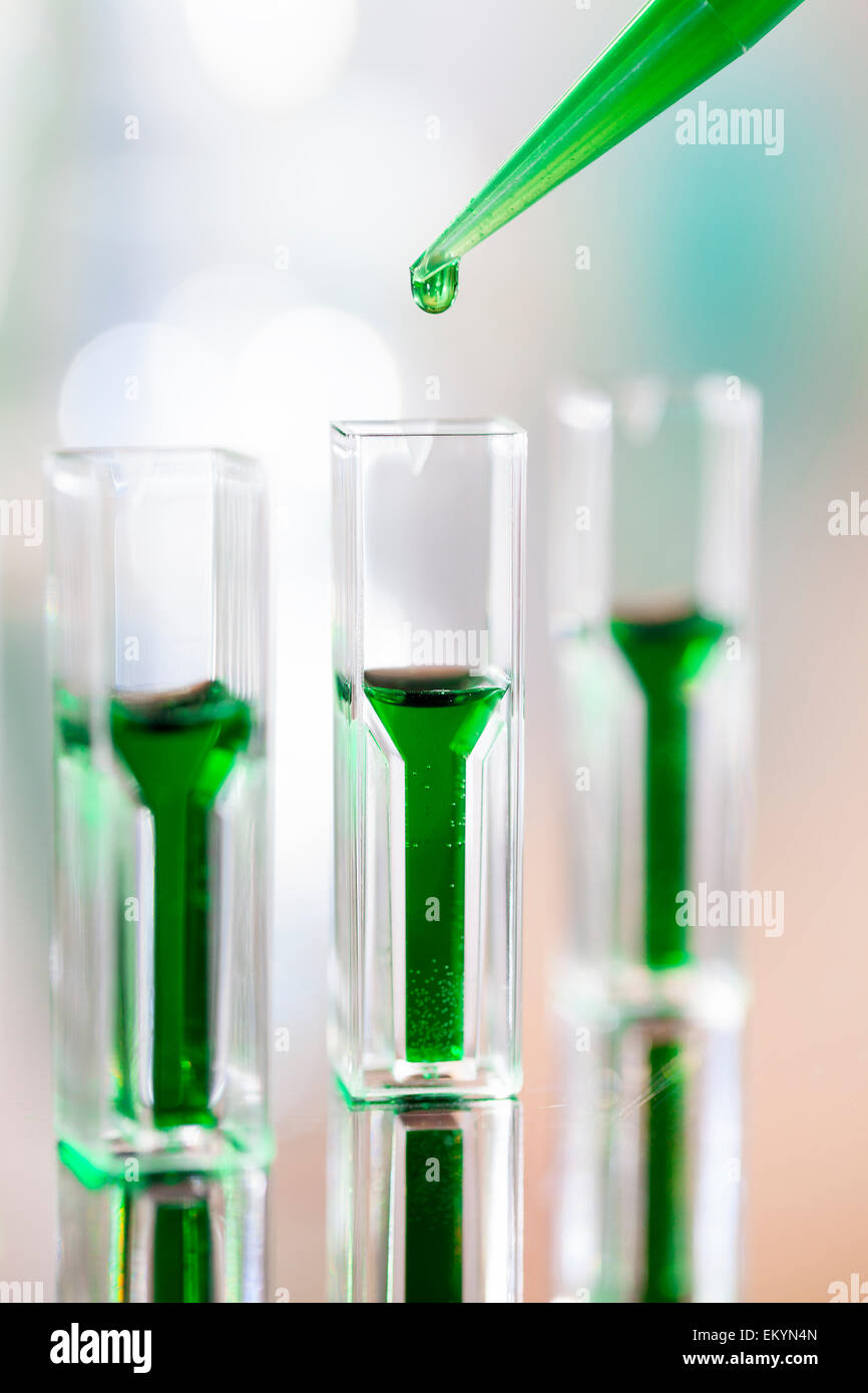 Spectrophotometer quvettes on a reflective surface, copy space - Stock Image
