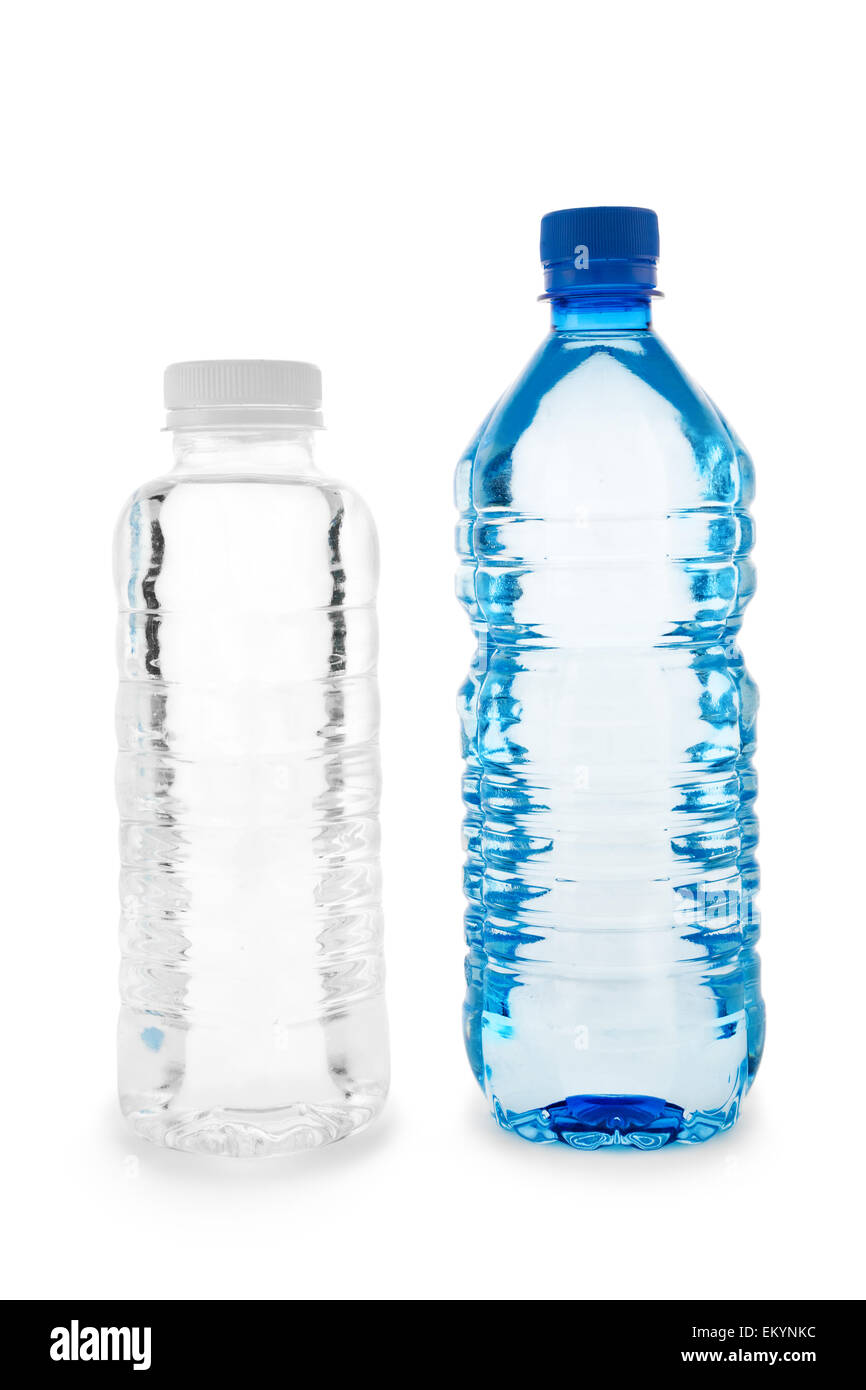 Dark blue and colorless bottles with water - Stock Image