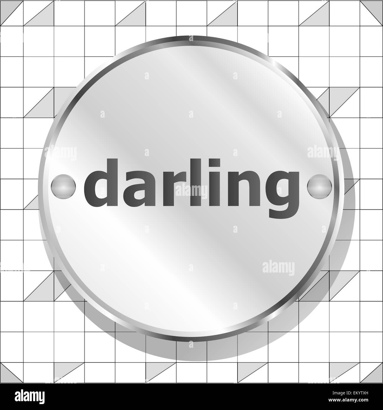 word darling on metallic button - Stock Image