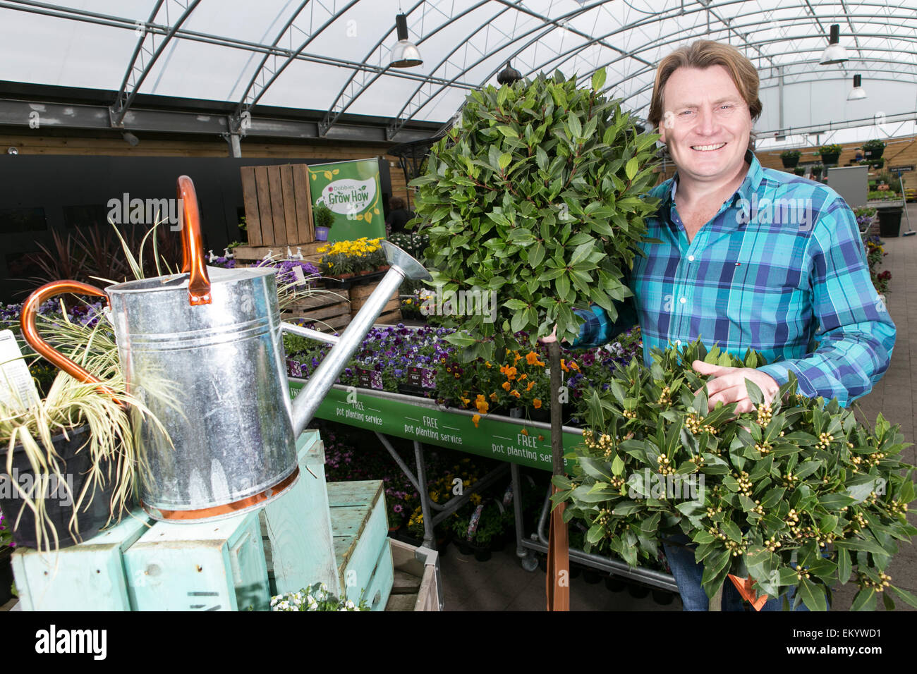 Celebrity gardener David Domoney at Dobbies Garden Centre ,Speke Hall Avenue , Liverpool. - Stock Image