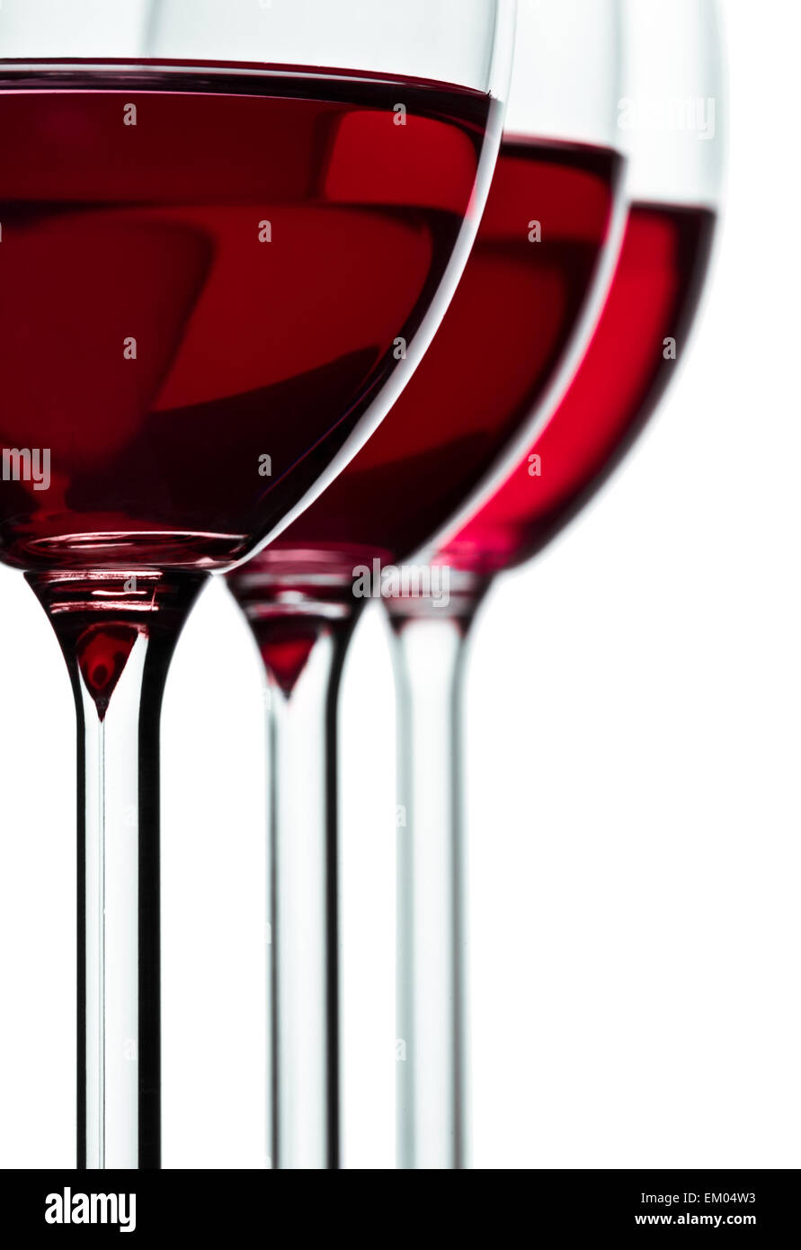 trhee glass with red wine - Stock Image