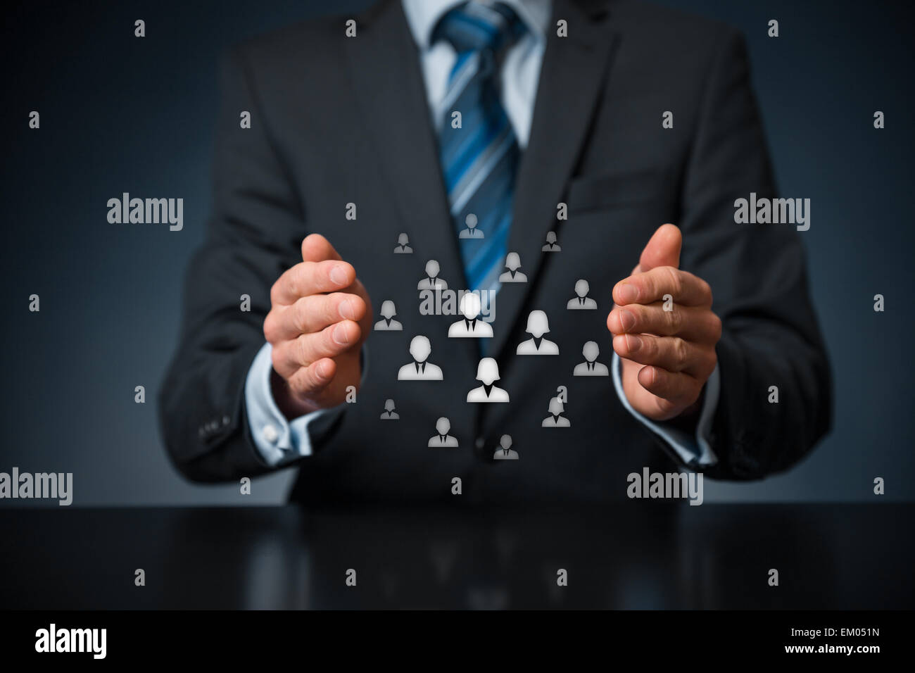 Customer care, care for employees, labor union, life insurance, customer relationship management (CRM) and human - Stock Image