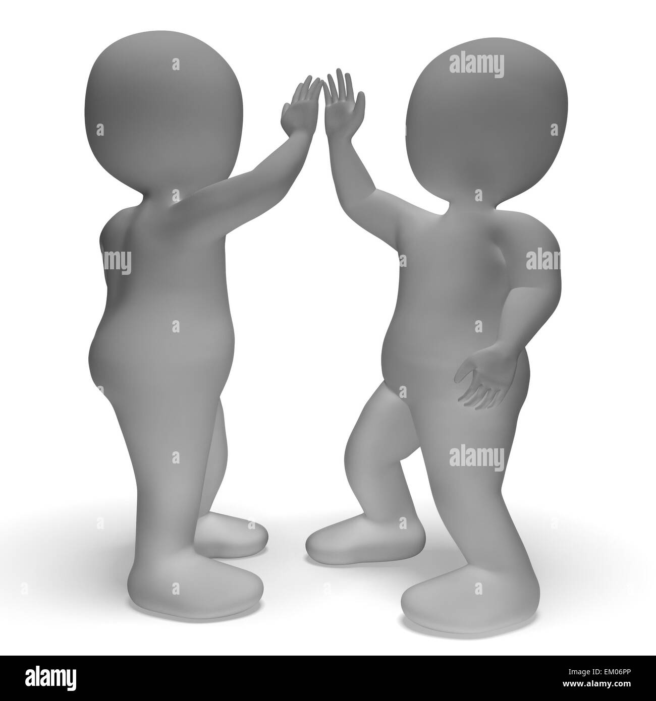 High five greeting black and white stock photos images alamy high five 3d characters shows friendship and greeting stock image m4hsunfo