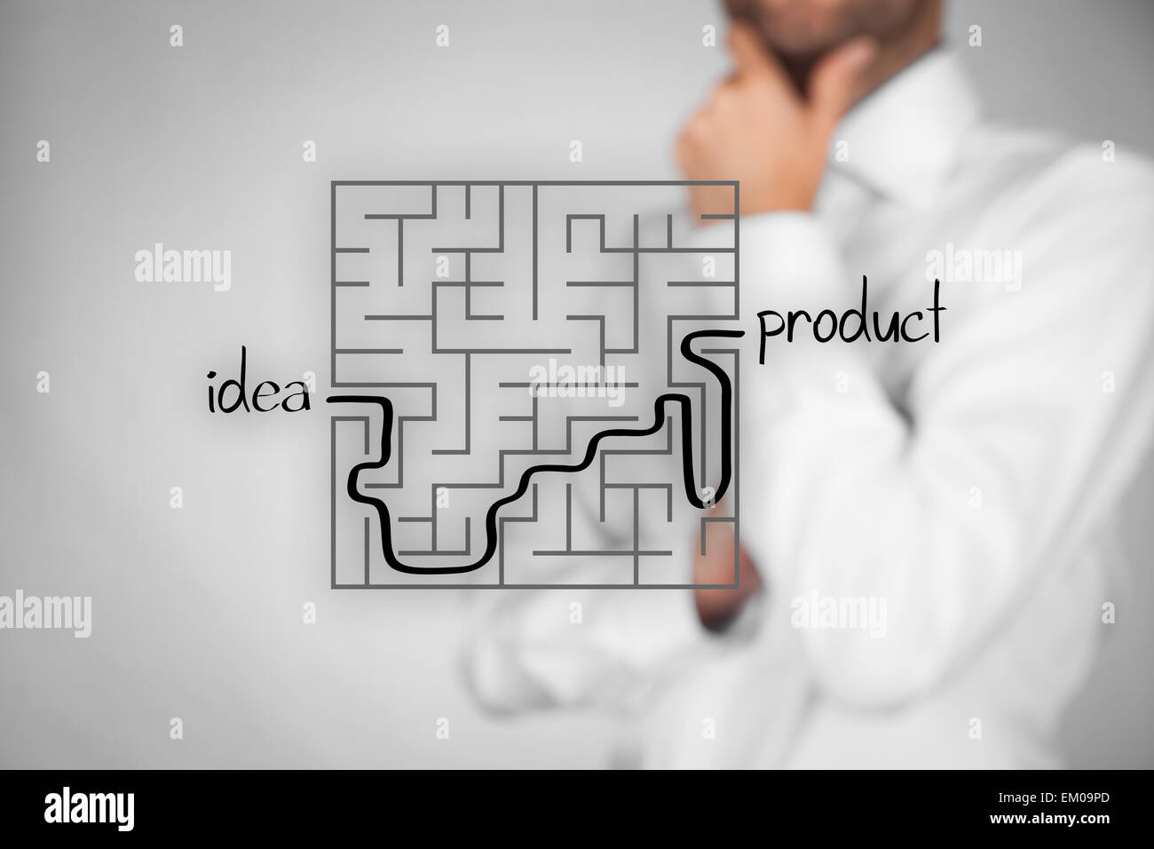 Long and difficult way from business idea to successful product. Marketing product specialist plan new product. - Stock Image