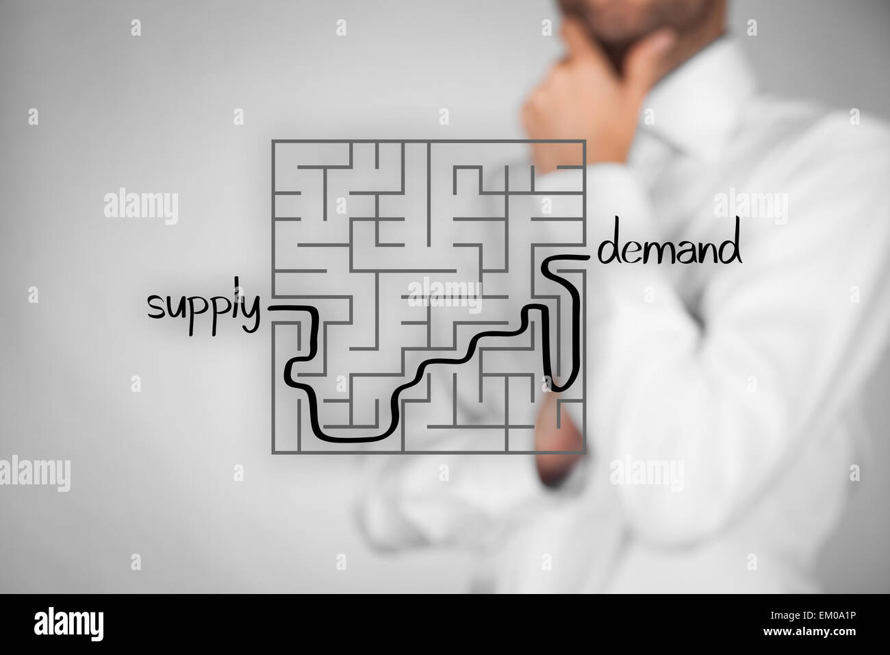 Long and difficult way from company supply to successful customers demand. Marketing product specialist plan new - Stock Image