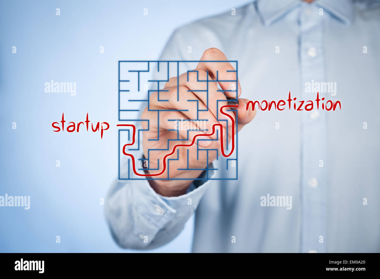 Long and difficult way from business startup to successful monetization. Businessman plan startup strategy and its - Stock Image