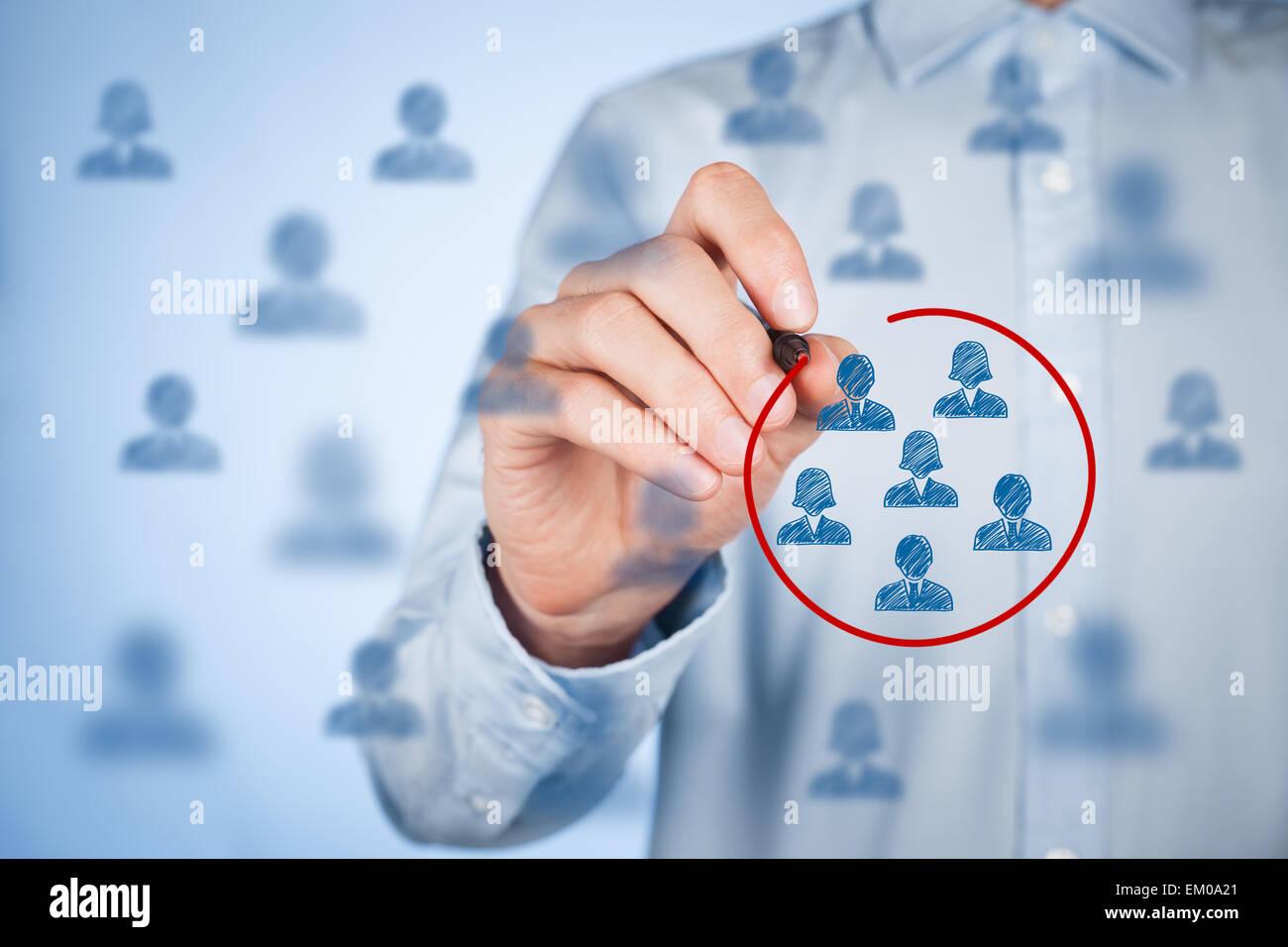 Marketing segmentation, target audience, customers care, customer relationship management (CRM), customer analysis - Stock Image