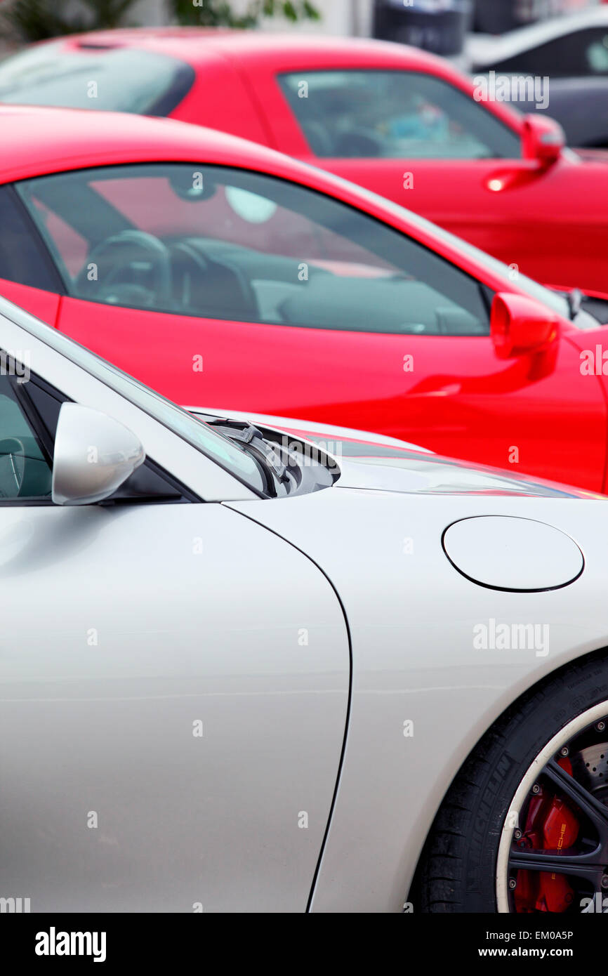 sports cars parked in a row - Stock Image