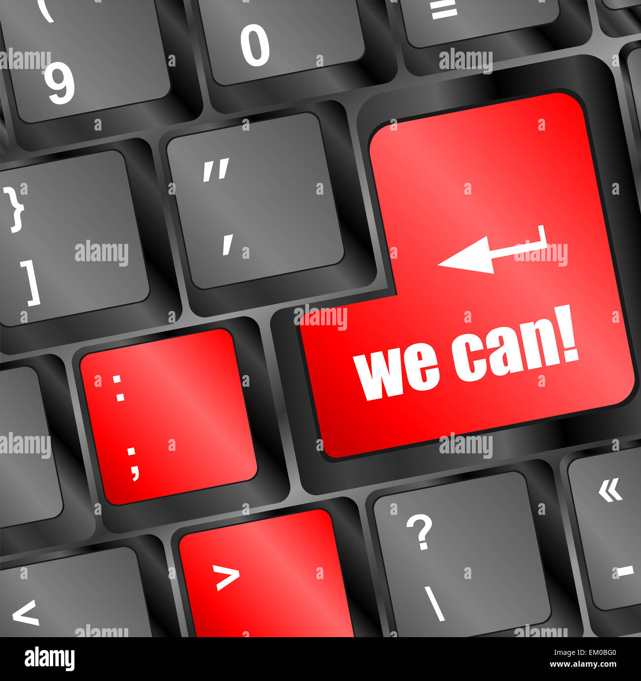 we can button on computer keyboard key Stock Photo