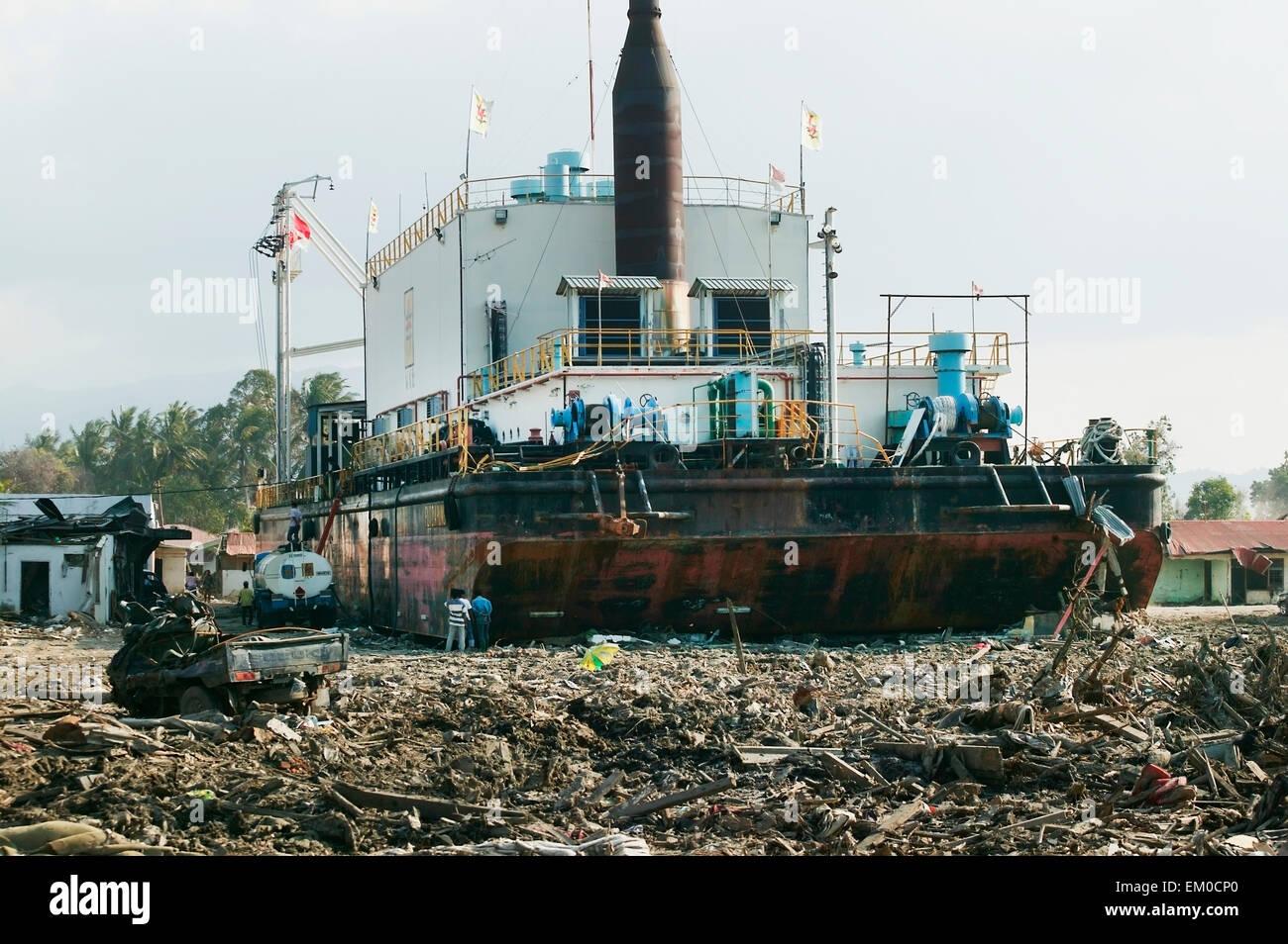 Stranded,Indonesia,Barge,Banda Aceh Stock Photo