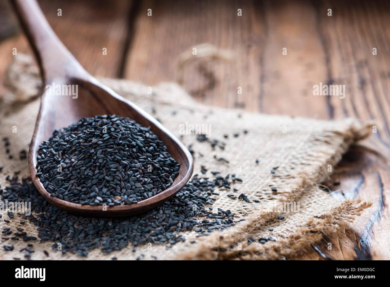 Portion of black Sesame (detailed close-up shot) - Stock Image