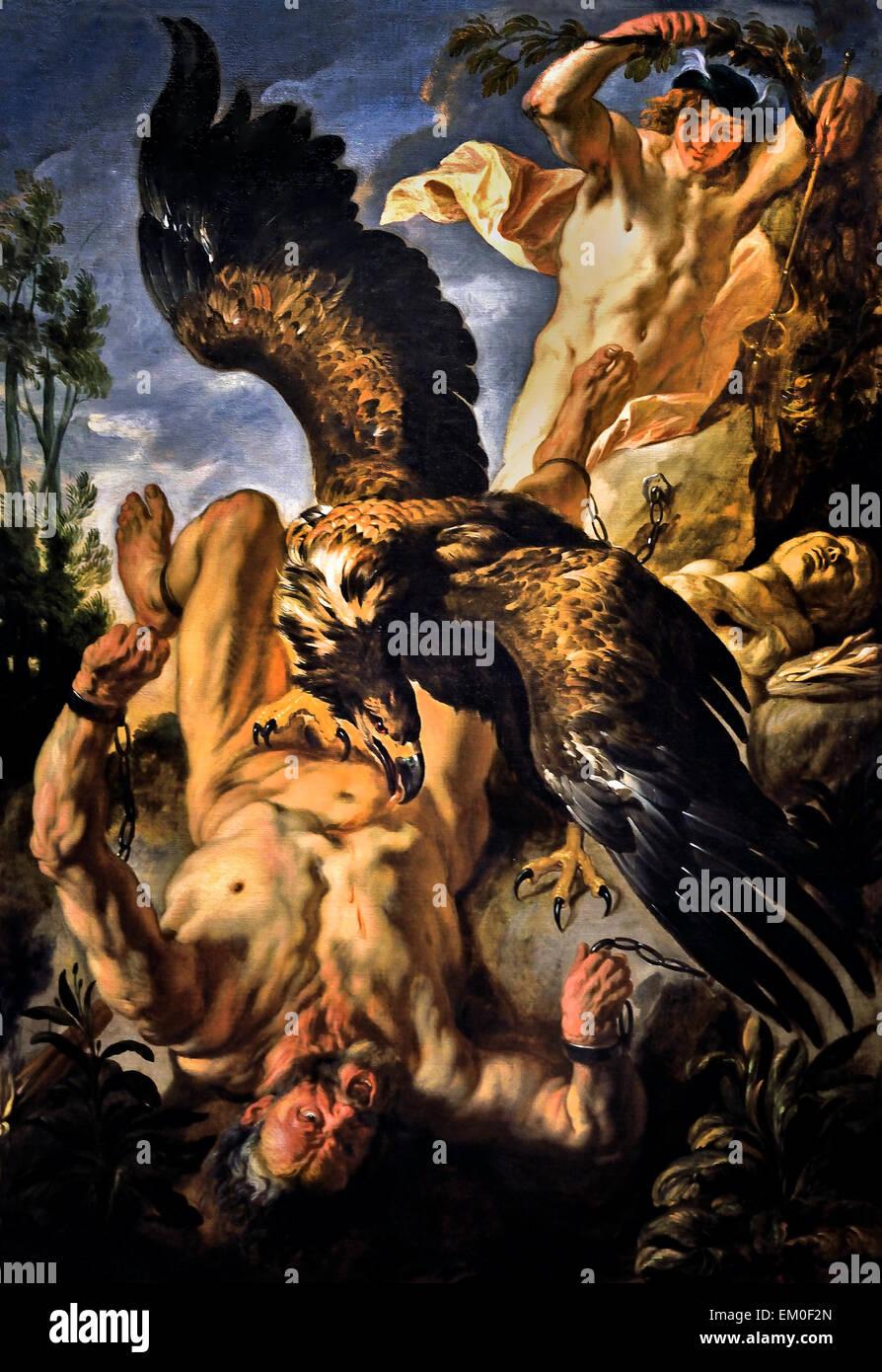 Jacob Jordaens (Antwerp 1593 – 1678 Antwerp)  Prometheus Bound 1642 Flemish Belgian Belgium - Stock Image