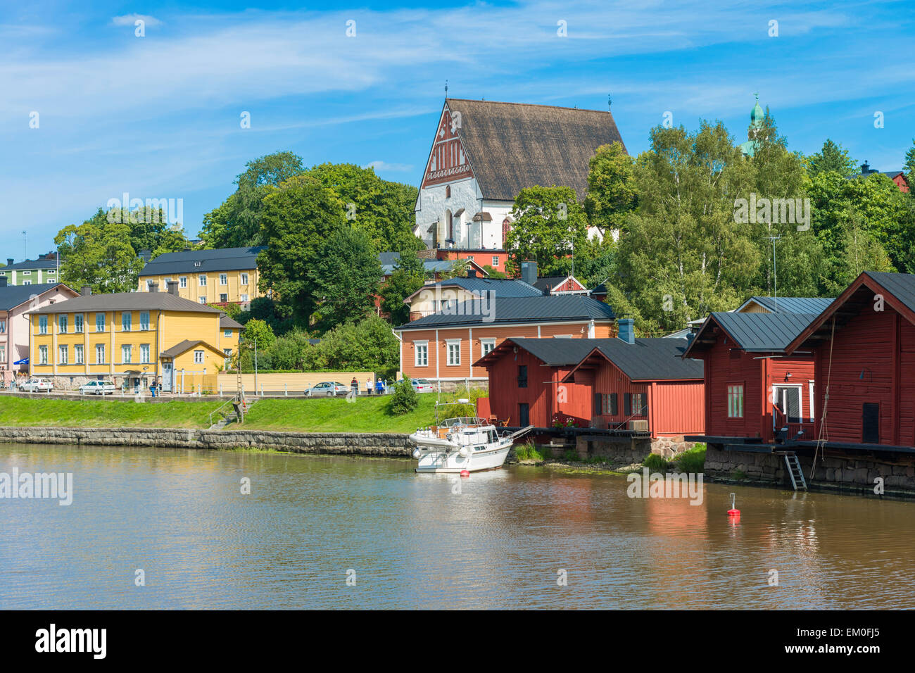 Riverside buildings and Cathedral in the medieval city of Porvoo, Finland. - Stock Image