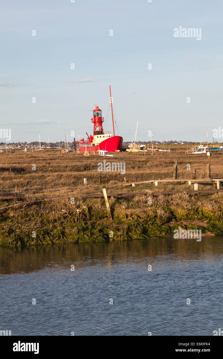 Lightship in the saltings at Tollesbury, Esses, Uk Stock Photo