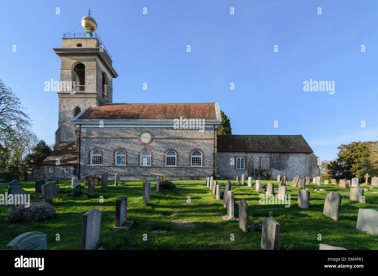 The Church of St Lawrence, West Wycombe. It's famous Golden Ball was rumoured to hold meetings of the infamous - Stock Image