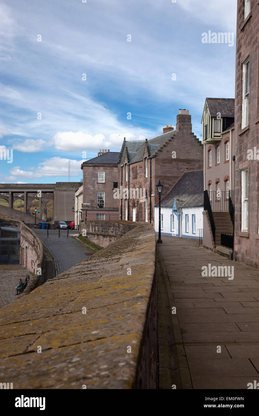 Houses And Buildings Along A Sidewalk; Berwick-Upon-Tweed Northumberland England - Stock Image
