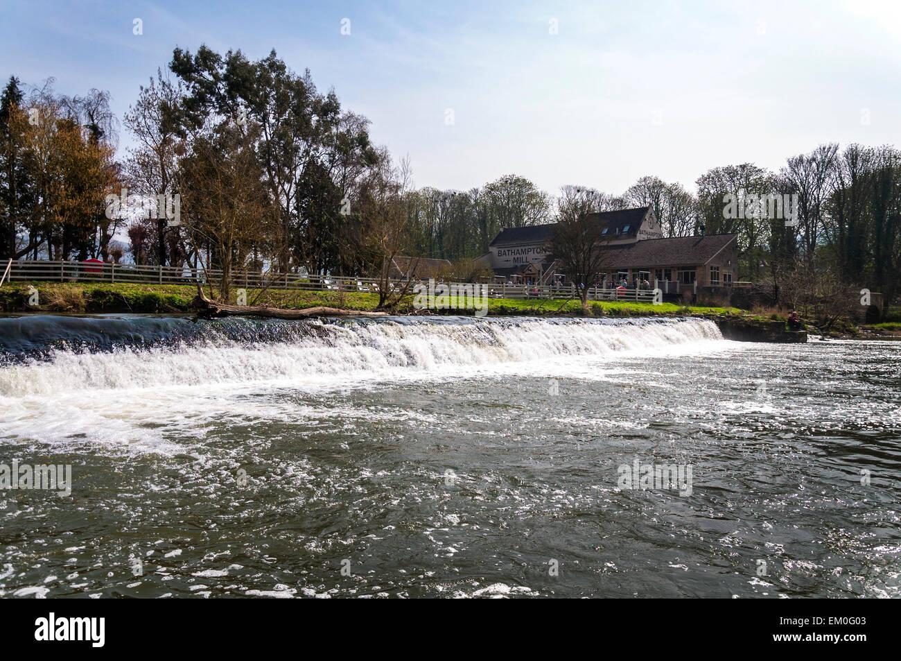 Bathampton Mill and weir on River Avon at Bathampton Stock Photo