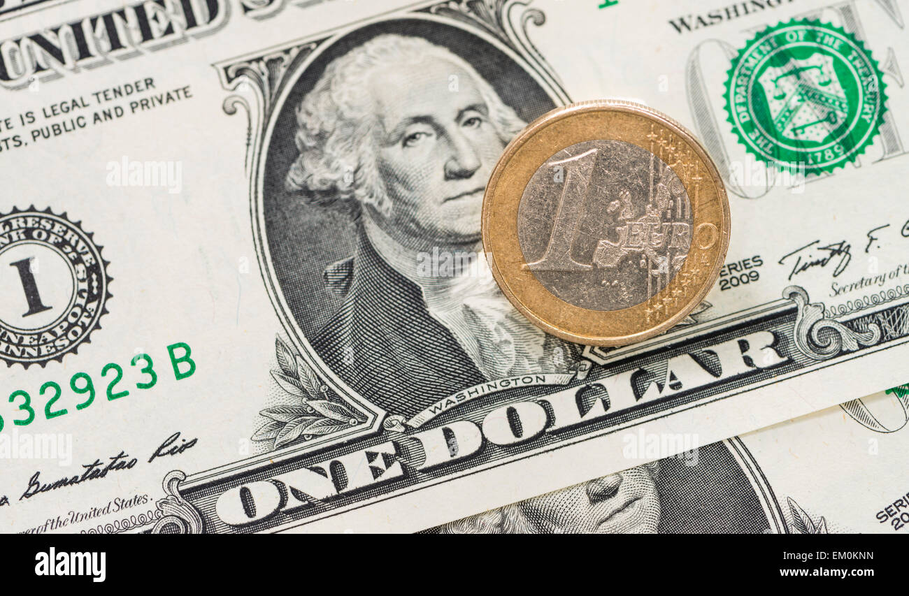 Concept of the EUR/USD exchange rate (close-up) - Stock Image