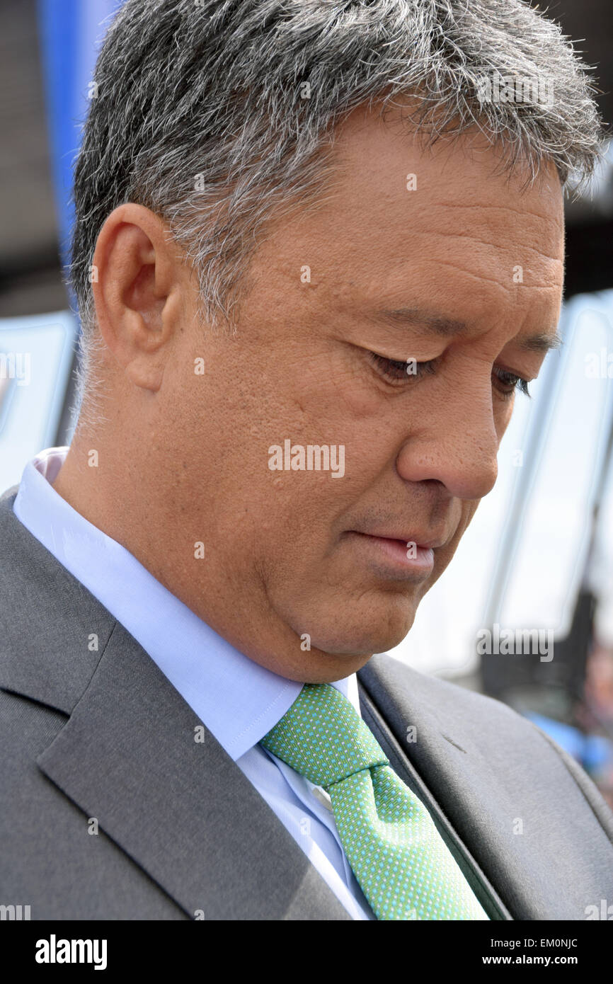 Former Mets star pitcher and current broadcaster Ron Darling in make-up at the Mets home opener April 13, 2015. - Stock Image